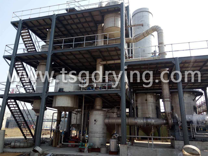 Three-effect wastewater evaporator